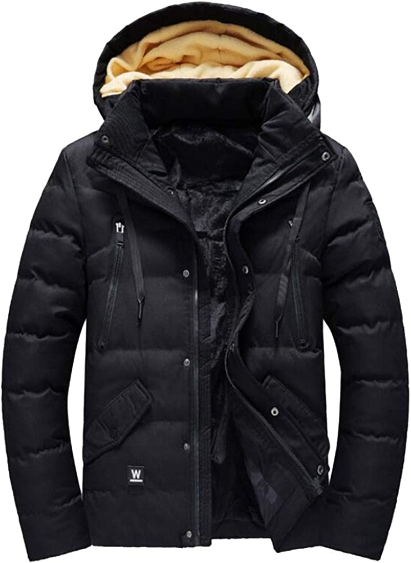 FSSE Mens Fleece Line Thicker Warm Winter Hooded Down Quilted Coat Jacket Outerwear
