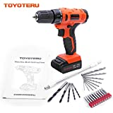 TOYOTERU 12V Cordless Drill / Driver Kit with 1300 mAh Li-ion battery , 20 Position,3/8-Inch Keyless Clutch, Variable Speed Switch, Working Light, 25 Pcs Drill/Screwdriver Bit Accessory Set
