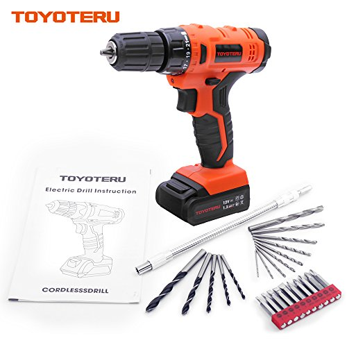 TOYOTERU 12V Cordless Drill/Driver Kit with 1300 mAh Li-ion battery, 20 Position,3/8-Inch Keyless Clutch, Variable Speed Switch, Working Light, 25 Pcs Drill/Screwdriver Bit Accessory Set