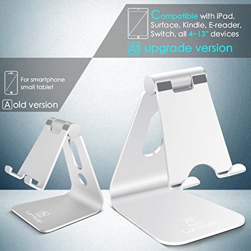 Lamicall Supporto Tablet, Supporto Regolabile : Universale Stand Dock per 2018 Pad PRO 10.5, PRO 9.7, PRO 12.9, Pad Mini 2 3 4, Pad Air, Air 2, Phone, Samsung Tab, Altri Tablets – Argento