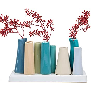 Chive - Pooley 2, Unique Ceramic Flower Vase, Low Rectangular Modern Decorative Vase for Home Decor Living Room Office and Centerpieces, Steel Blue Teal Green