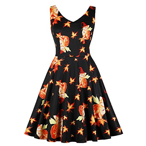 Wellwits Women's Maple Magical Wing Witch Cats Print Halloween Vintage Dress -
