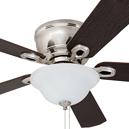 Prominence Home 80031-01 Woodmere Low-Profile Hugger Ceiling Fan with LED Bowl, 52 inches, Brushed Nickel by Prominence Home (Image #2)