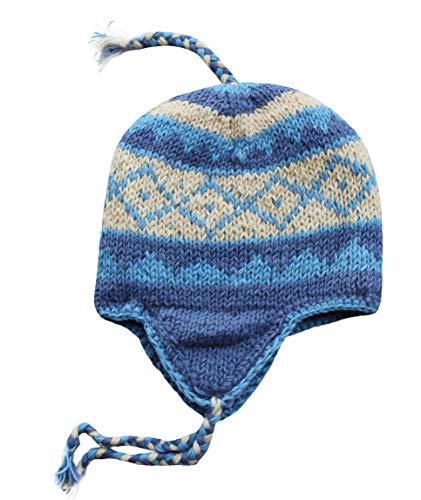 Sherpa Designs Hand Knit Unisex Wool Beanie Hat Ear Flap Fleece Lined Nepal