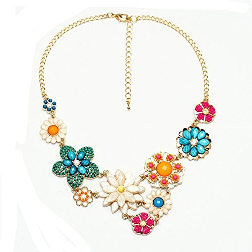 MosBug Fashion Colorful Flower Beaded Festoon Lavalier Y Bib Choker Collar Gold Necklace (Gold Flower Choker Necklace)