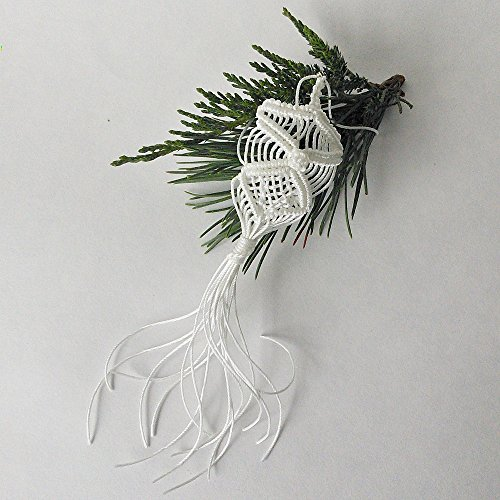 Christmas ornament. Macrame owl Christmas Holiday Ornament. White knotted owl. For the love of Owl home decor ()