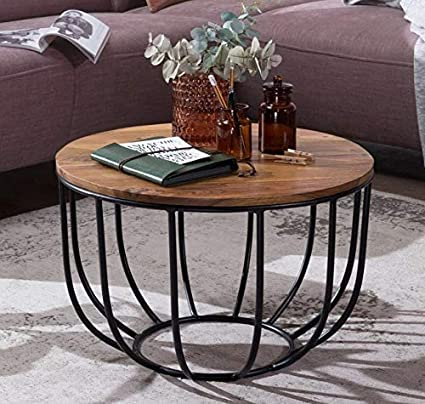 Priti Solid Wood Indiana Bowed Round Coffee Table Amazon In Home Kitchen