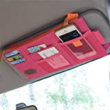 Rumfo Multi-function Car Space Sun Visor Organizer Card Phone Storage Pouch Bag Holder or Card/ Cell Phone/ Pen/ Sunglass Holder Hot Pink