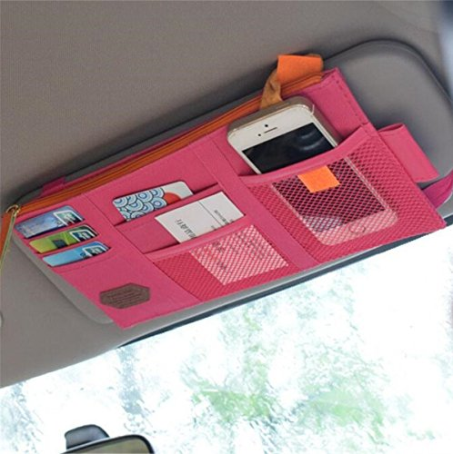 Price comparison product image Rumfo Multi-function Car Space Sun Visor Organizer Card Phone Storage Pouch Bag Holder or Card/ Cell Phone/ Pen/ Sunglass Holder Hot Pink