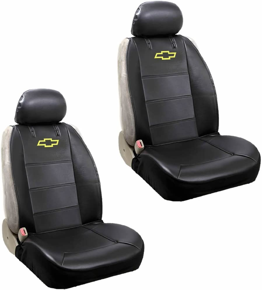 GM Accessories 19214004 Front Seat Cover Set in Ebony with Bowtie Logo