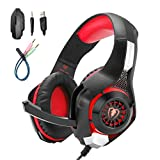 Mengshen Gaming Headset for PC/Laptop/Smartphones/iPad/iPhone/PS4/Xbox One – with Mic, Volume Control, Cool LED Lights and Soft Earpads – GM1 Red