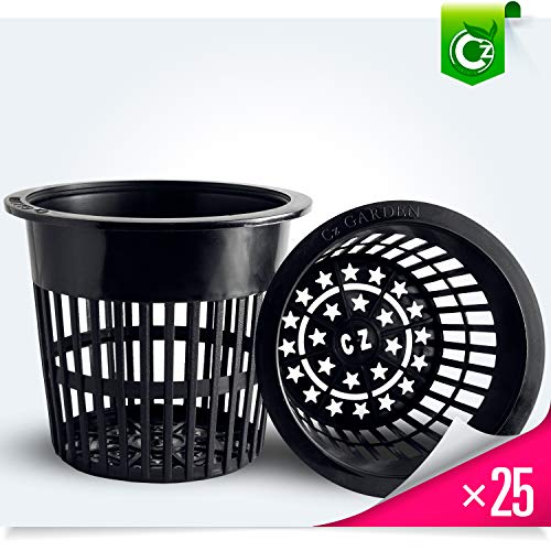 - 25 pack - 4 inch Round HEAVY DUTY Net Cups Pots WIDE LIP Design - Orchids • Aquaponics • Aquaculture • Hydroponics Slotted Mesh by Cz Garden Supply (4 inch Cz All Star Net Pots - Black)