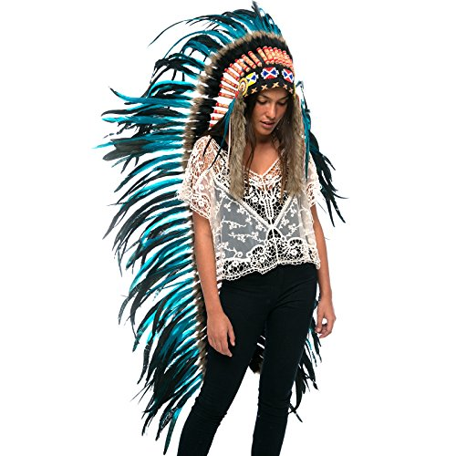 Extra Long Feather Headdress- Native American Indian Inspired- Handmade Halloween Costume for Men Women with Real Feathers - Aqua-Black (Aztec Costume For Men)