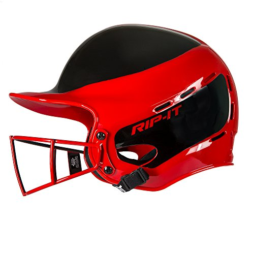 Rip-It Vision Pro Away Softball Batting Helmet (Away Scarlet, (Batting Face)