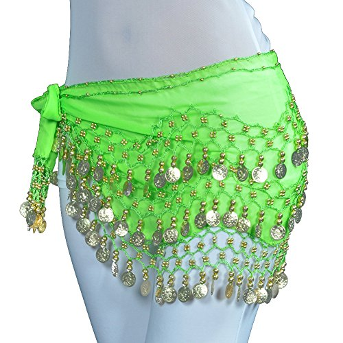 Chiffon Dangling Gold Coins Belly Dance Hip Skirt Scarf Wrap Belt (Green) (Green Scarf Hip Dance Belly)