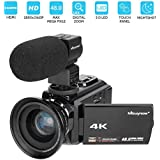 4K Camcorder, Mbuynow Video Camera 48MP 30FPS Ultra HD WiFi Digital Camera IR Night Vision 3.0 Touch Screen Video Camera Camcorder with External Microphone and Wide Angle Lens
