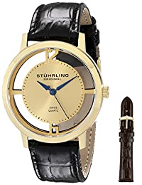 Stuhrling Original Men's 388G2.SET.02 Classic Winchester Cathedral Swiss Quartz Gold Tone Black Leather Additional Strap Watch Set