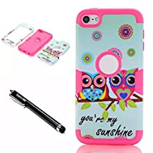 ipod touch 6th generation Case,Lantier 3 in 1 Shield Style Slim Thin Shockproof Hybrid Dual Layer Cute Lovely Sunshine Owls High Impact Armor Case Cover for Apple iPod Touch 5 6th Generation Hot Pink