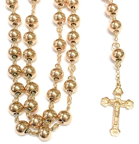 Rosario Gold Finish - 14k ROSE GOLD FINISH 8MM MENS ROSARY CHAIN NECKLACE CROSS