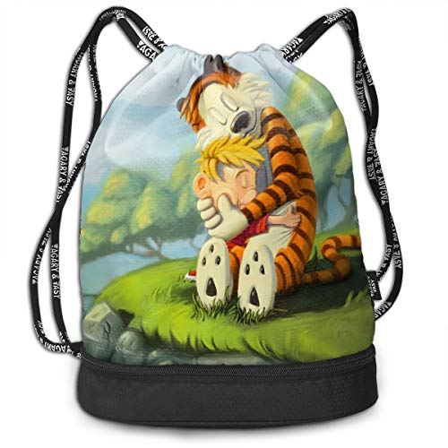 PSnsnX Backpack Calvin And Hobbes Sports Gym Cinch Sack Bag For Women Men Children Sackpack Dance -