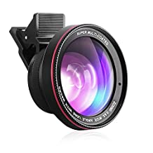 Zomei 2 in 1 High Definition Clip-On 0.6X Professional Wide Angle Lens with Macro Lens for iPhone 6/6s plus/5s/4s Samsung Galaxy HTC and LG Cell Phones and DSRL Cameras