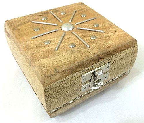 GoCraft Wooden Jewelry Box Keepsake Organizer – Handmade with Elegant Nickel Metal Design – 4 X 4