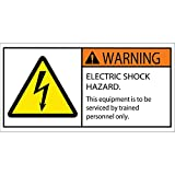 Aviditi DSL519 Tape Logic Warning Electric Shock Hazard Durable Safety Label, 2'' x 4'', Multi-Color (1 Roll of 25 Labels)