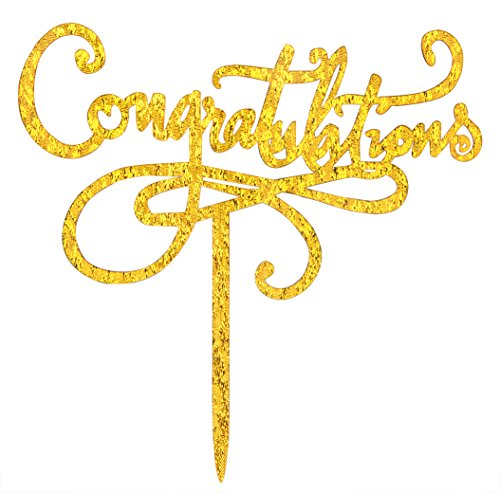 Congratulations Cake Topper Wedding,Anniversary,Graduation,Retirement Party, Proclamation of Pregnancy Party Decorations Supplies Gold