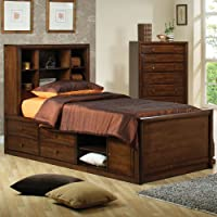 Coaster Scottsdale Collection 400280F Full Size Bookcase Captains Bed with Open Shelves Underbed Storage Nickel Knobs Solid Maple Wood and Veneer Materials in Warm Brown
