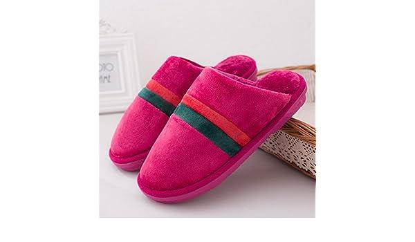5ffea1fe9d7c6 YMFIE Otoño Invierno Hombre señoras Zapatos Zapatillas de algodón Interior  térmica Piso casa Zapatillas