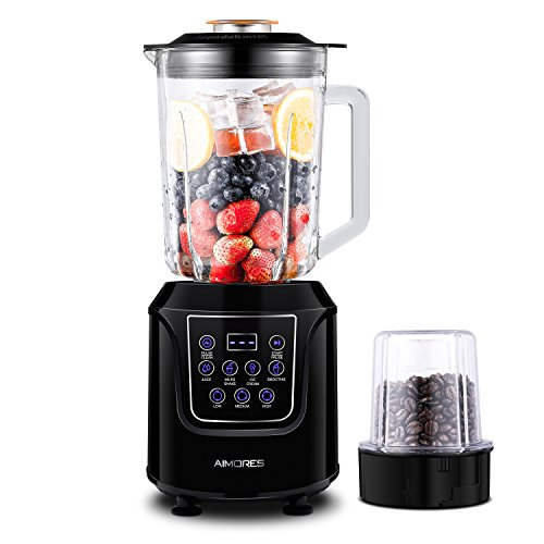 Commercial Blender AIMORES for Smoothie, Pre-Programmed / Pulse / Speed Control (28,000 RPMs) / LED Touch Screen, 52oz Big Glass Pitcher, with Grinding Cup & Recipe, ETL/FDA Approved