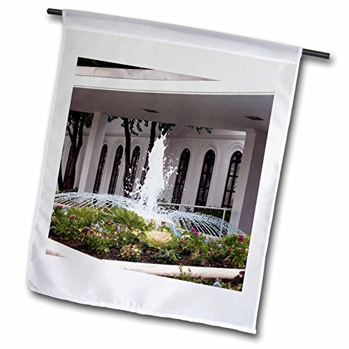 3dRose Jos Fauxtographee- LDS Temple Fountain - An LDS Temple and a beautiful fountain out front in a garden - 18 x 27 inch Garden Flag (fl_263285_2) by 3dRose
