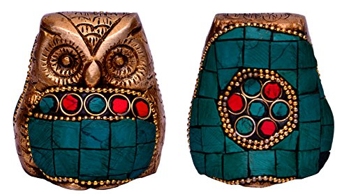 (Purpledip Owl Statue Sculpted in Brass with gemstone work: For Use as Religious Symbol or by Feng Shui Practitioners for Positive Energyv| Simply use as Paper-Weight or Decor Showpiece (10634))