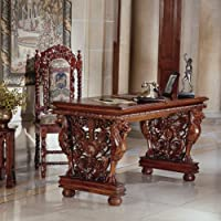 Hand-carved Solid Mahogany Antique Replica Gryphon Library Table