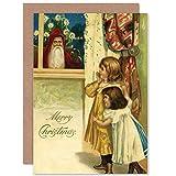 Wee Blue Coo Card Alternative Christmas Xmas Merry Creepy Santa