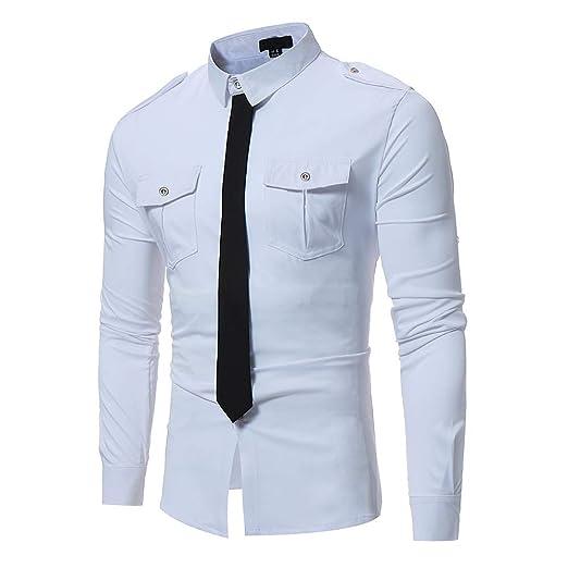 Camisa de Vestir con Botones de Manga Larga Personalidad Contraste ...