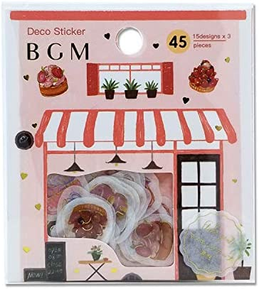 BGM – Flake Stickers – Flake Seal Foil Stamping – Afternoon High Tea Dessert (Washi Tape Material) – for Scrapbooking Art Craft DIY