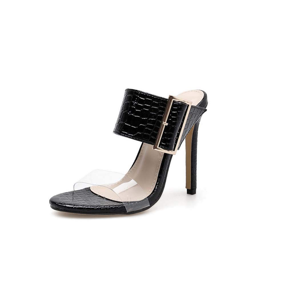 HYLFFO damen Cone Fersenschuhe Ledersommer-Slip auf Peep Toe Platform Female Hausschuhe Heels Comfort Wide Fit Walking Schuhe schwarz 37EU