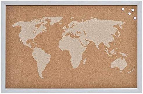 Decowood - Mapa Mundi de Corcho con Marco para Marcar Tus Viajes por el Mundo y Colgar en la Pared, Blanco - 60x40cm: Amazon.es: Hogar