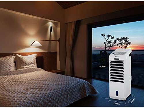 Aigostar Koud 33JTL - Rafraîchisseur d'air, humidificateur et purificateur d'air 3 en 1 avec télécommande. 55W, 3 vitesses. Grand angle oscillation, minuterie de 7h, réservoir de 5 L.(1)