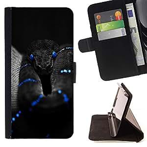Momo Phone Case / Flip Funda de Cuero Case Cover - Negro Serpiente Azul Mamba Naturaleza Veneno - LG Nexus 5 D820 D821