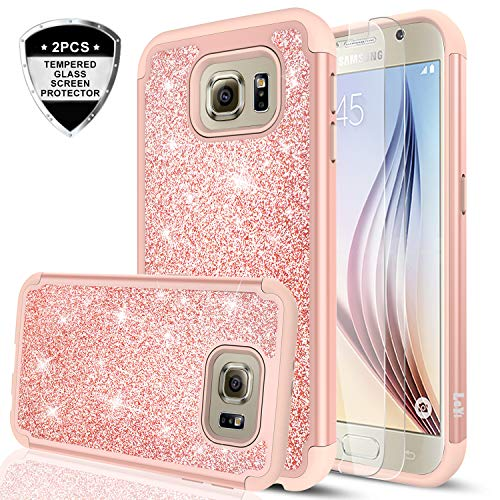 2ba616b0827 Galaxy S6 Glitter Case with Tempered Glass Screen Protector [2 Pack],LeYi  Bling