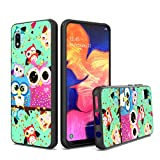 UNC Pro Cell Phone Case for Samsung Galaxy A10E, Owl Family Gold Foil Embedded Dual Layer Hybrid Case, Shockproof Bumper Anti-Scratch Protective Case Cover