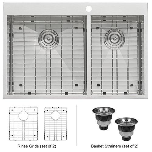 Ruvati 33 x 22 Inch Drop-in 60/40 Double Bowl 16 Gauge Zero-Radius Topmount Stainless Steel Kitchen Sink - RVH8050 (Sink Double Bowl)