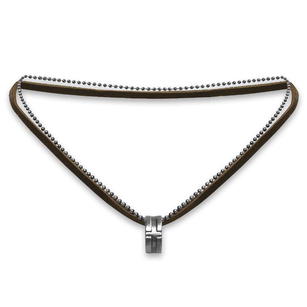 Doppelkette mit Ring Kreuzmotiv dunkelbraun Leder Edelstahl Metall Kette