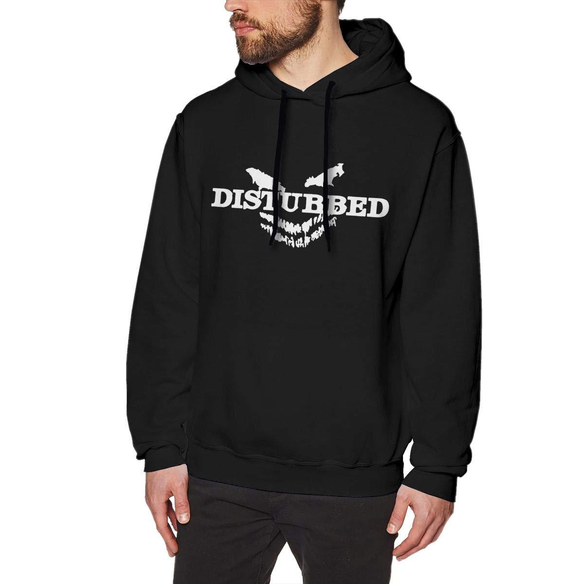 YouNood Disturbed Logo Mens Long Sleeve Sweatshirts Mans Hoodies Black