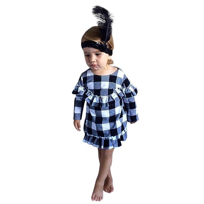 Ropa Bebé Niñas Vestido de Fiesta de la Princesa de la Colmena de Cuadros Falda para Bebés Niños 6 Meses-4 años Holatee: Amazon.es: Ropa y accesorios