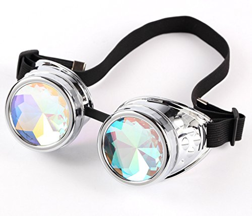 75a1317a3506 Halloween Goggles - Kaleidoscope Rave Steampunk Goggles with Rainbow Glass Lens  Retro Cyber Punk Gothic Cosplay