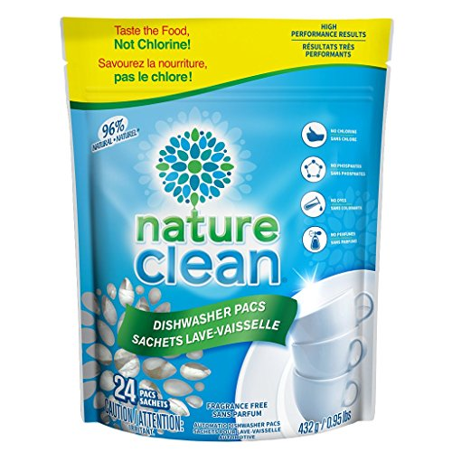 Nature Clean Automatic Dishwasher Pacs, Unscented, 24 count. (Natural Sparkling Clean)
