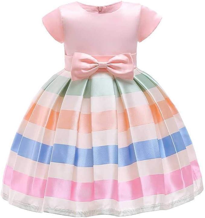 Vestido de Las señoras Niñas Bowknot Princesa Vestido Satén Flor ...